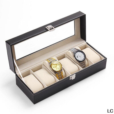 - (6 Grid)Classic Watch Storage Box Luxury Display Solid Boxes Case Jewelry Watches Organizer Leather with Glass Durable Tools -   jetcube