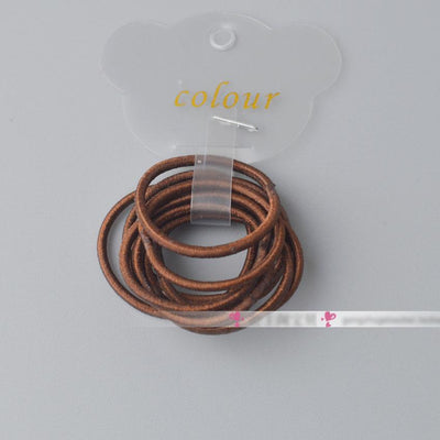- 10 Pcs/ lot (1 pack) Mini 2.5mm thickness hair ropes little girls Slim hair ties kids Babe hair ropes accessories - Chocolate  jetcube