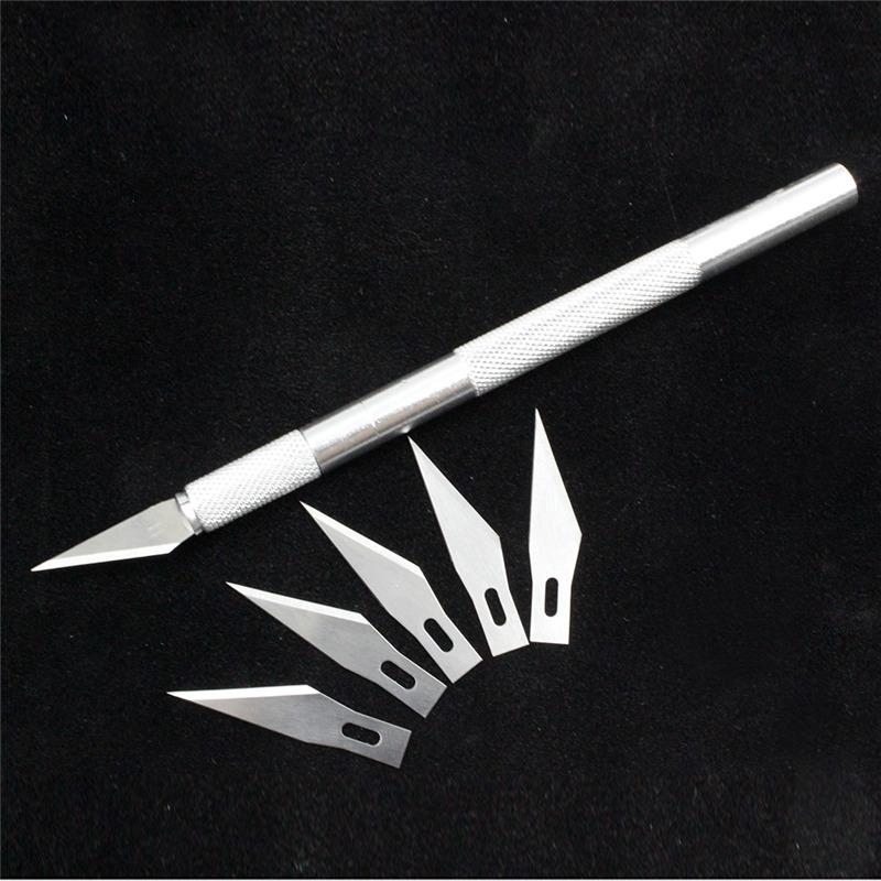 - 1 set/ Metal Handle Scalpel Tool Craft Knife Cutter Pen Knives Engraving Hobby DIY knife + 6 pcs Blade for Phone Laptop Repair -   jetcube