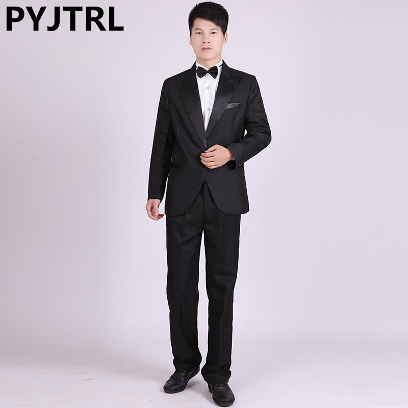 - (Jacket+Pants) Classic Closure Collar Men's Evening Suit Choir Competition Master Clothing Costume Stage Wear Suits Cheap Tuxedo -   jetcube