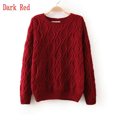 - 12 Color ! Hot New Autumn Winter Women Fashion Cotton Elastic Sweater Lady Knitted Long Sleeve O-neck Woolen Pullovers - 012Dark red / L  jetcube