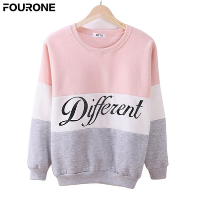 2017 Autumn and Winter Women Fleece Patchwork Hoodies Printed Letter women's O Neck Long Sleeve Casual Pullover Sweatshirts