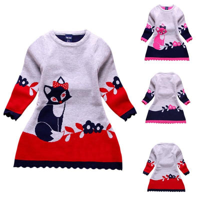 - 2-7Y Character Kid Baby Girl Autumn Winter Double-layer Long-sleeve Fox Clothes Outfit Set -   jetcube