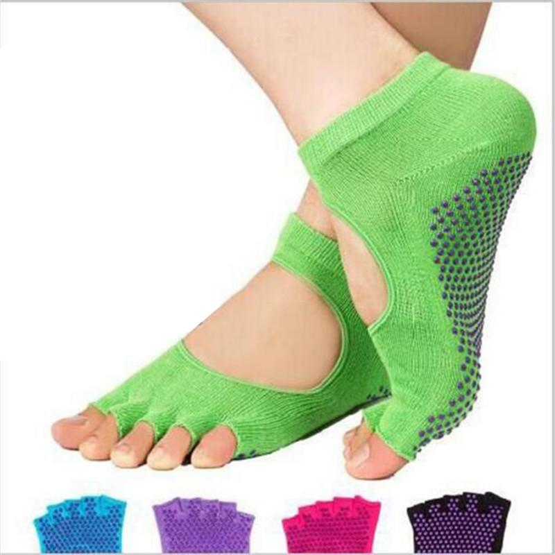 - 1 Pair Women's Short Socks Silicone Anti-slip Fitness Pilates Elastic Sock Backless Low Cut Ankle Socks Foot Soles Massage Socks -   jetcube