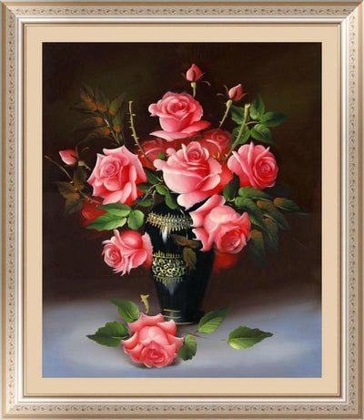 - &% 4 colors roses Diamond Embroidery 5D Diamond Painting Cross Stitch Kits Mosaic crystal Round Drill picture around mosaics - red  jetcube