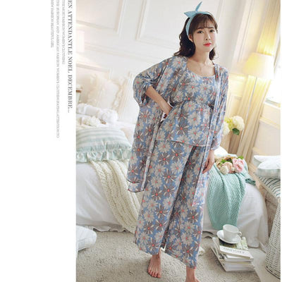 - 1715# 3PCS/Sets Summer Fashion Maternity Nursing Pajamas Quality Cotton Breastfeeding Sleepwear Suits Clothes for Pregnant Women -   jetcube