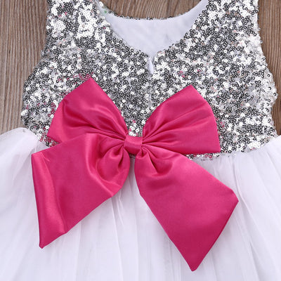 - 0-4Y Baby Dress Cute Kids Girls Clothes Bow Sequined Princess Dress Little Girl Ball Gown Tutu Party Dress -   jetcube