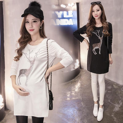 - 0-profit! 2017 Maternity clothing spring and autumn fashion long-sleeve maternity dresses medium-long dresses -   jetcube