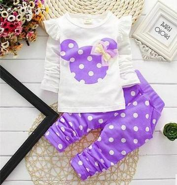 - 2016 Fashion Micky Mouse Baby Set Dot Cotton Baby Girl Clothes Kids Clothing Set Girl (Pants+T-shirt) Summer Mutli-Colors - Purple / 12M  jetcube