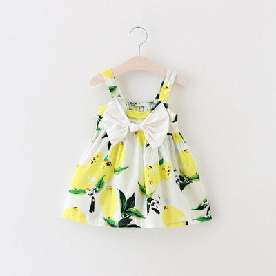 - 0-3Y Summer Baby Girls Dress Bow front Sleeveless Floral Lemon Bowknot Sundress Clothes - Yellow / 18M  jetcube