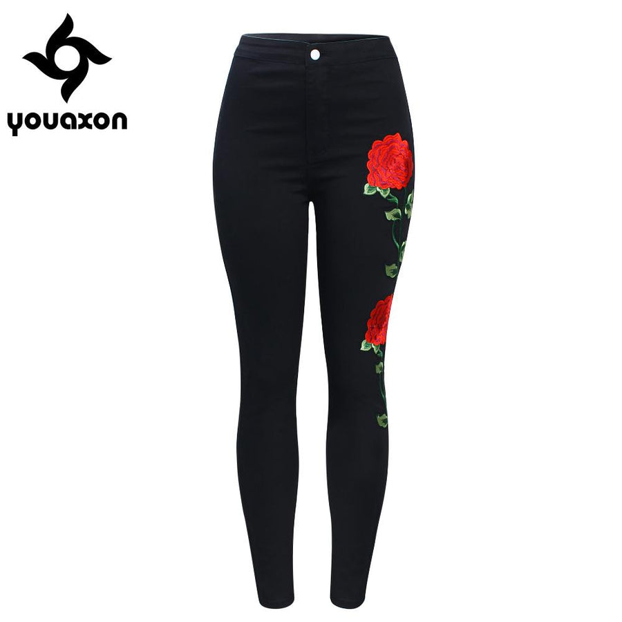 487351816bd44 2118 Youaxon New High Waist Black Embroidery Jeans Without Ripped Woman  Fashion Floral Denim Pants Trousers
