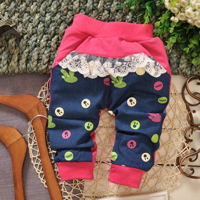 - (1piece /lot) 100% cotton 2016 cartoon pant for baby girl 1-3 year old 95cm - Red / 12M  jetcube