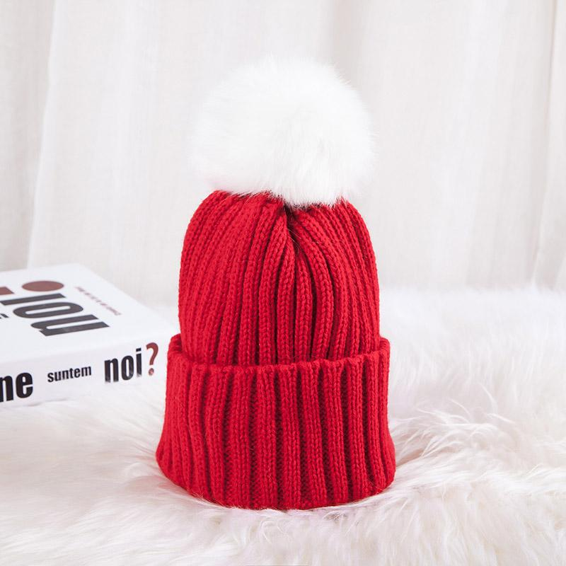 - 0926XB Skullies & Beanies Kid Solid Hats Real pompom hat winter hats for women knitted hat beanie women girls 10 colorst XB-A415 - Red / Children  jetcube