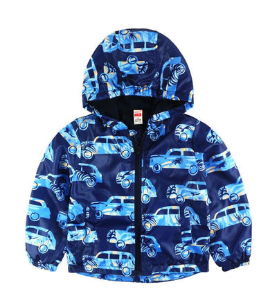 - 2-8yrs Kids Jackets For Girls and Boys Clothes Floral/Car/Dinosaur Print Children Outerwear & Coats Baby Hooded Windbreaker Coat - Car / 3T  jetcube