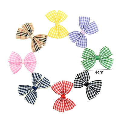 - 10 Pcs/ Lot Kids Mini Bow Whole Wrapped Safety Hair Clips Cute Solid Dot Stripe Printing Hairpins For Girls 731 - 1  jetcube