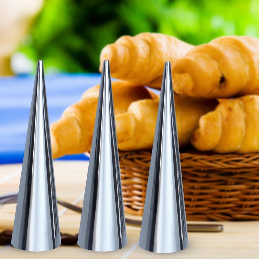 - 12Pcs(=4Sets) x Stainless Steel Spiral Baked Croissants DIY Horn Tube Baking Mold Cooking Tool For Cream Horns Chocolate Cones -   jetcube