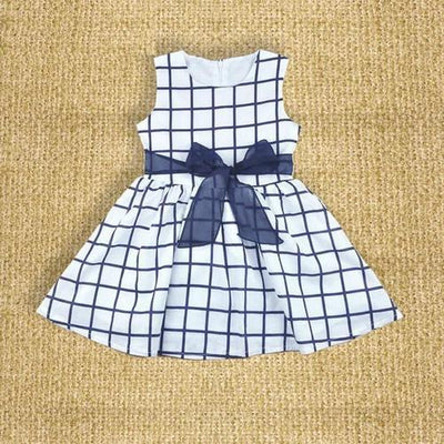 - 0-2 Year Baby Kids Girl Dress summer 2017 girl clothing blue plaid sleeveless Princess Dress Party Girls costume -   jetcube