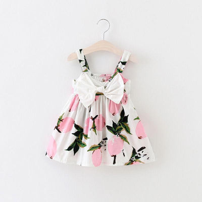- 0-3Y Summer Baby Girls Dress Bow front Sleeveless Floral Lemon Bowknot Sundress Clothes - Pink / 18M  jetcube
