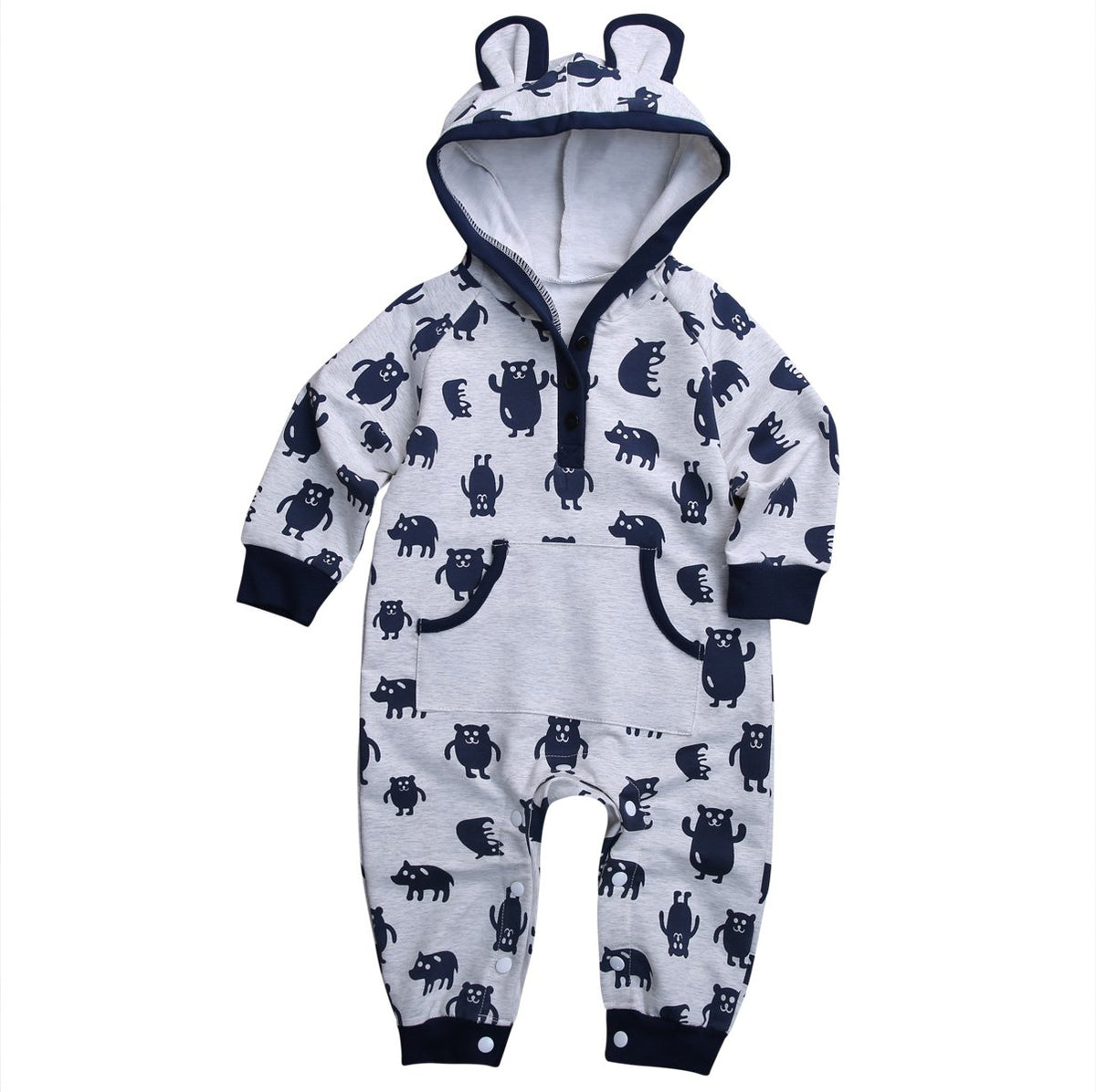 - 0-18M Newborn Infant Baby Boy Girl Kids Clothes Cotton Long Sleeve Hooded Romper Jumpsuit Outfit - Gray / 10-12 months  jetcube