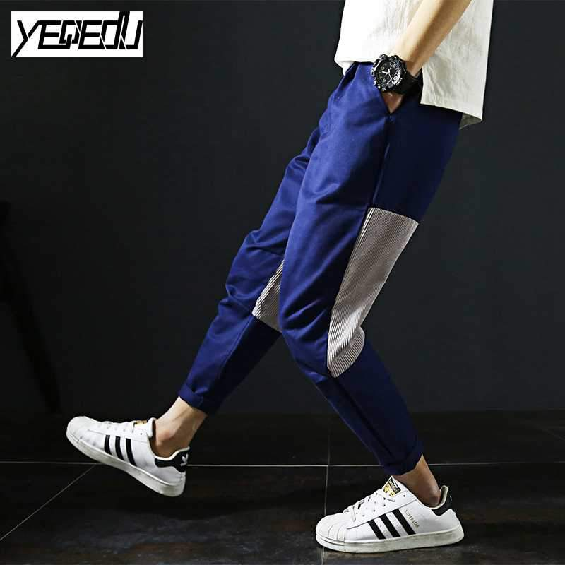 - #2823 Harajuku Corduroy trousers men Patchwork Large size Ankle-length Casual Joggers men Hip hop pants Loose Baggy trousers 5XL -   jetcube