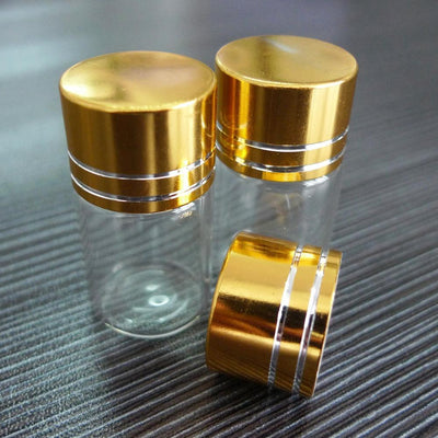 - 10 PCS 6ML 22*35mm Mason Jar Empty Tranparent Lot Small Glass Bottle Jars with Gold Plated Screw Cap Liquid bottle -   jetcube