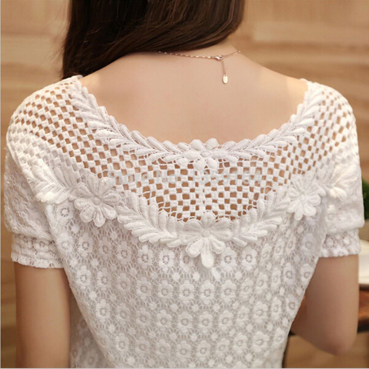 ab570fca851a7 6XL ZANZEA Plus Size Women White Lace Blouse 2018 Summer Short Sleeve Shirt  Floral Blouses Hollow