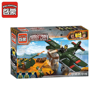 - 1705 ENLIGHTEN WW2 Military Air Defence Biplane Fighter Howitzer Model Building Blocks Figure Toys For Children Compatible Legoe -   jetcube