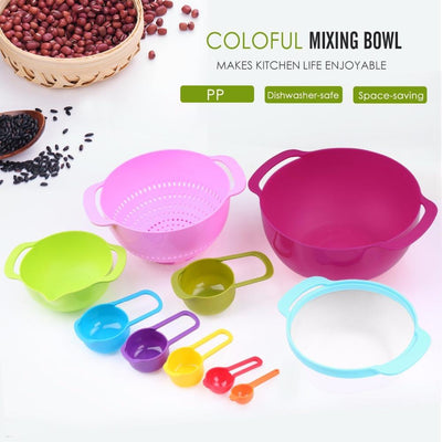 - 10 PCS Colorful Plastic Versitile Mixing Bowls with Handles, Including Container,Colander, Sieve and Measuring Cups,Assort Color -   jetcube