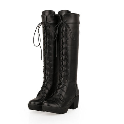 MoonMeek Fashion high quality pu soft leather round toe the knee high boots women lace up contracted square autumn winter shoes