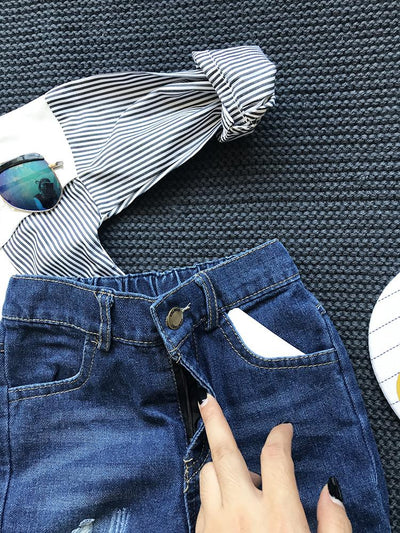 - 2-8 years 2017 New Wholesale Autumn Cotton Solid Pocket Holes Kids Boys Jeans -   jetcube