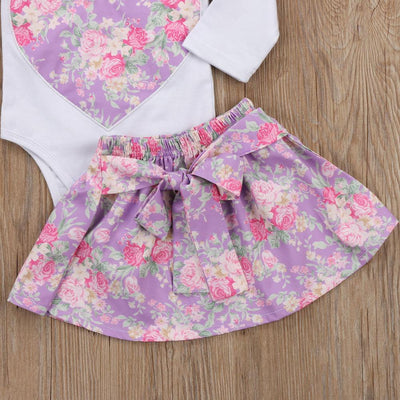 0-3Y Toddler Girls Winter Clothing Set Long Sleeve Romper Tops Mini Bowknot Skirt Hairband 3pcs Floral Baby Infant Outfits 3pcs  UpCube- upcube