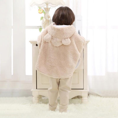 - 0-24M Newborn Baby Boys Girls Warm Hooded Coat Winter Fur Cloak Long Sleeve Jacket Kids New Arrival Clothes -   jetcube