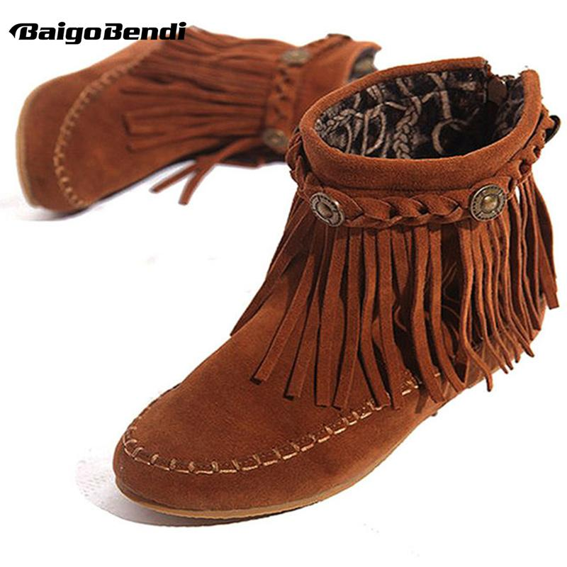 2cf786fa4569 US5-9 Suede Leather Like Moccasin Fringe Tassel Ankle Boots womens wedge  shoes