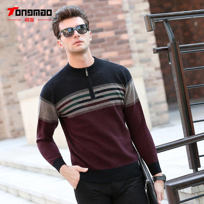 - 100% Wool Mens Sweater Autumn Winter Warm Zipper O-Neck Slim Fit Men Pullover Fashion Striped Solid Color Sweaters Men Knitwear -   jetcube