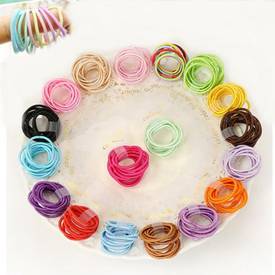 - 100 Pcs/ lot (10 packs) Mini 2.5mm thickness hair ropes girls Slim hair ties kids hair ropes accessories - Default Title  jetcube