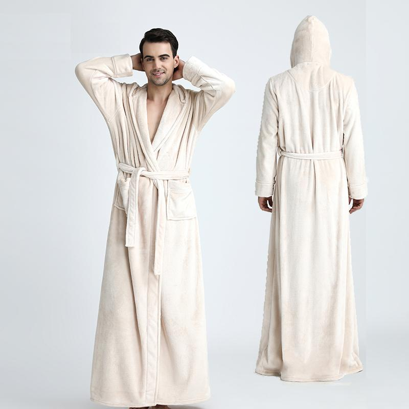 Men Hooded Extra Long Thermal Bathrobe Plus Size Winter Flannel ...