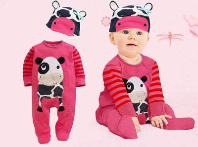 - (animal baby boy clothes) baby clothes romper cow/ panda/lion/ tiger long-sleeved romper with cute hat - b / 12M  jetcube