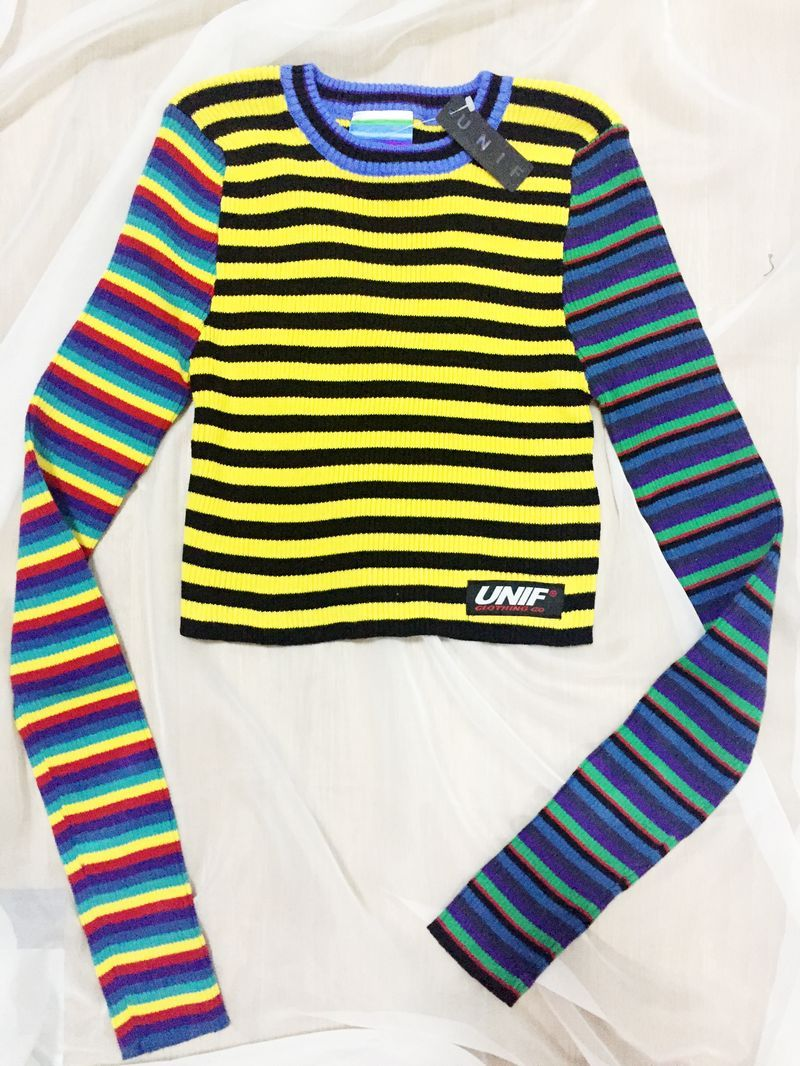 57db10a6d2a05d harajuku sweater women vintage punk unif contrast color block rainbow  striped multicolored cropped knit short pull