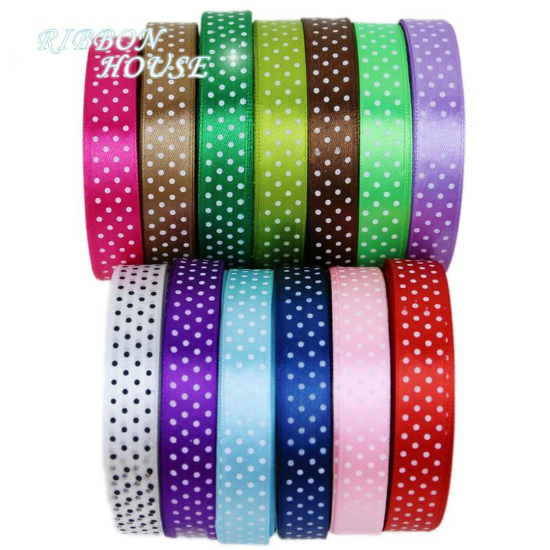 "- (25 yards/roll) 5/8""(15mm) dots printed cartoon satin ribbon gift wrap decoration ribbons -   jetcube"