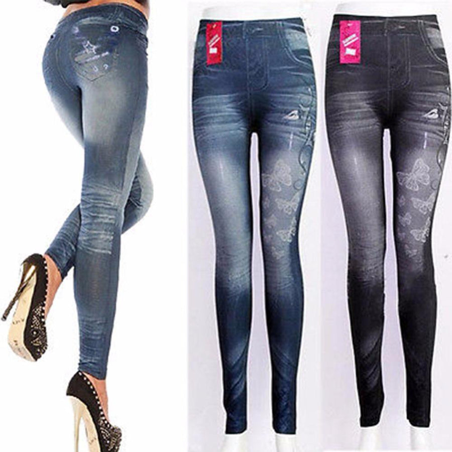 Sexy Skinny Jeggings Women Jean Leggings Fashion Skinny Stretchy Slim Butterfly/Stars Denim for Female Midi Waist Thin Pants