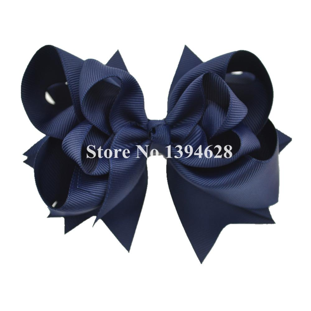 - $1/1PCS 5 inches 3 Layers Solid Navy Bows With 6cm Clips Boutique Ribbon Bows For Girls Hair Accessories - White / 5 inches  jetcube