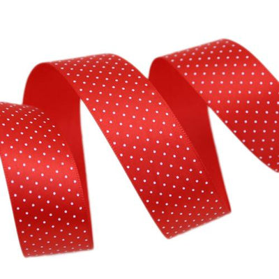 - (5 yards/lot) Small Dots Printed Satin ribbon lovely series ribbons wholesale (25mm&40mm) - Red / 25mm  jetcube