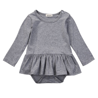 - 2016 Fashion Newborn Infant Kids Baby Girl Clothes Ruffles Tutu Skirt Long Sleeve Gray Bodysuit Jumpsuit Outfit - Gray / 12M  jetcube