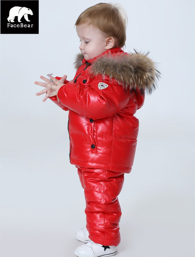 - -30 degree Russia Winter children's clothing girls clothes sets for new year's Eve boys parka jackets coat down snow wear - red / 2T  jetcube
