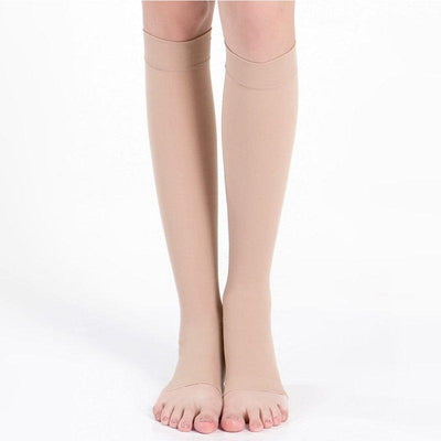 - 18-21mmHg Knee High Compression Stockings Men Women Elastic Leg Support Stockings Open Toe S-XL - Khaki / For L XL  jetcube