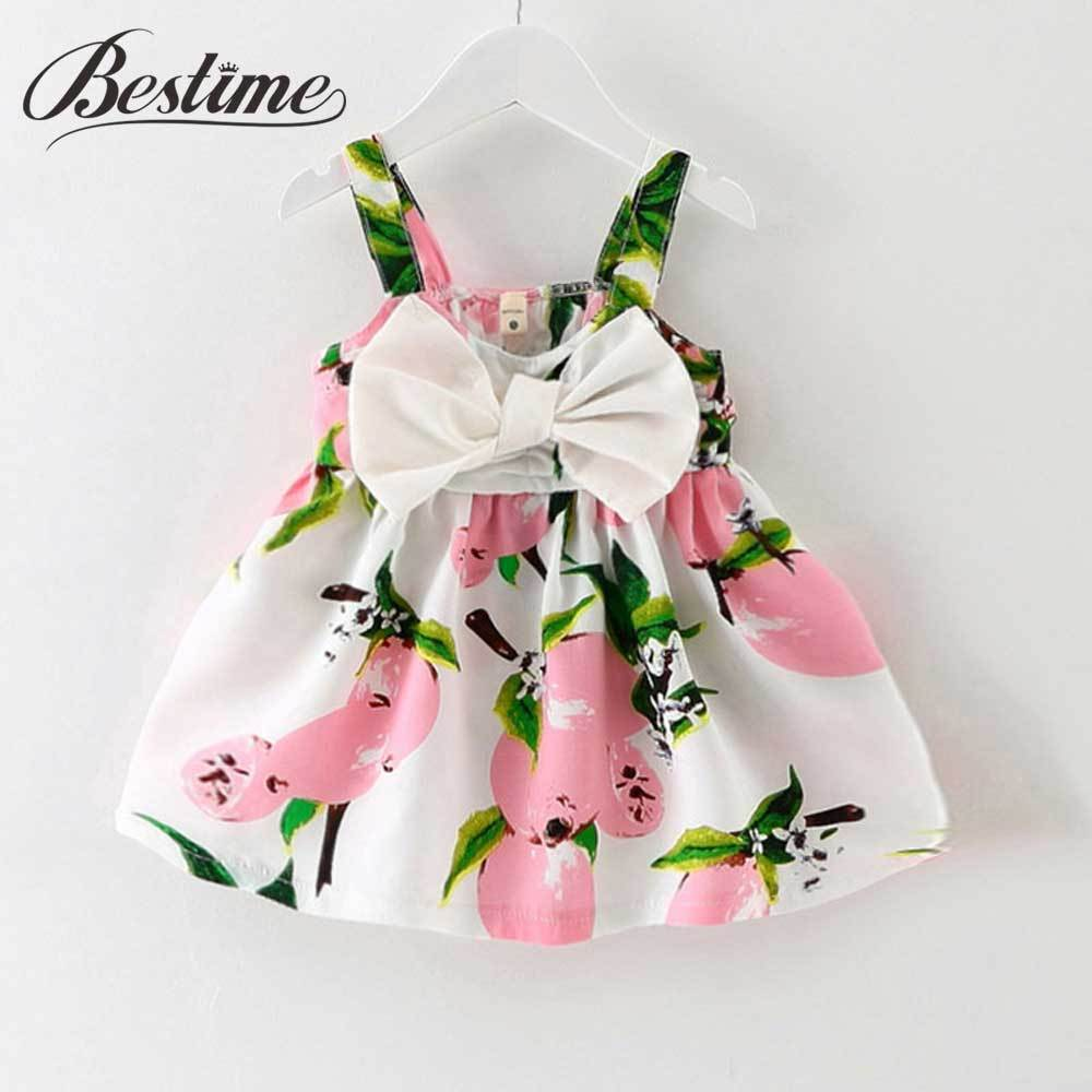 - 0-24Months Summer Baby Dress Lemon Print Infant dresses Cotton Sleeveless Princess Birthday Dress for Baby Girl Clothes - Pink / 12M  jetcube