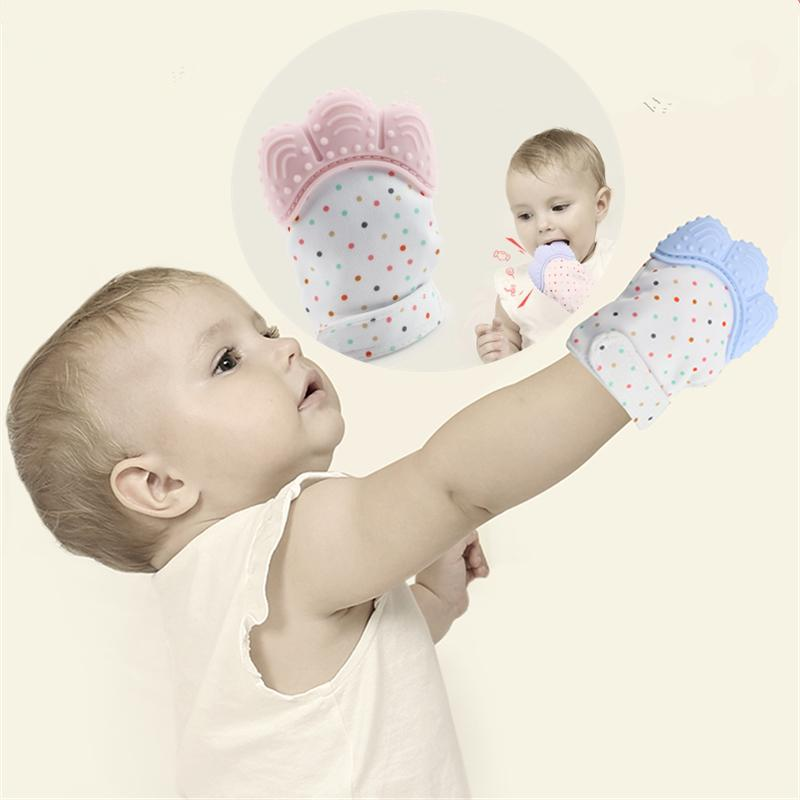 1 PIECE Silicone Baby Teether Glove Natural Thumb Sound Teething Chewable Nursing Mordedor Bite Teething Mitt Oral Care