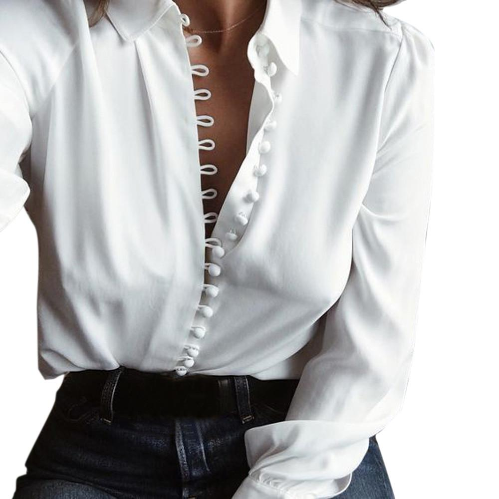 Women Casual Solid Long Sleeves Blouse Lapel Shirt blusas mujer de moda 2017 ropa camisetas mujer white lace blouse plus size