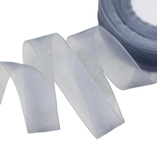 - (50 yards/roll) 1/2''(12mm) organza ribbons wholesale gift wrapping decoration Christmas ribbons - Grey  jetcube
