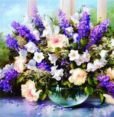 - % Flower arranging 5D diamond Painting flowers tree Cross Stitch diamond embroidery mosaic diamonds wall stickers home decor - Violet / 30*30cm  jetcube
